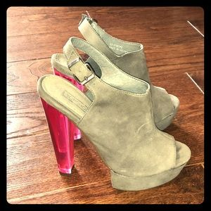 Open toe booties with lucite heel